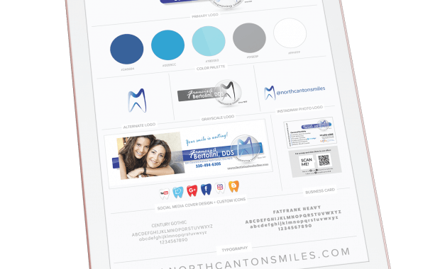 ipad with mock of brand guideline board for Francis A Bertolini, DDS