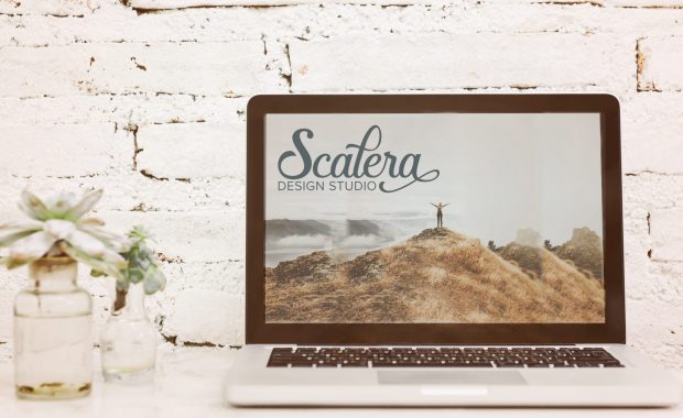 Scalera design studio wordmark on webpage on laptop