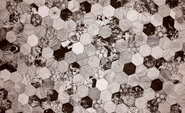 black and white hexagon floor graphics