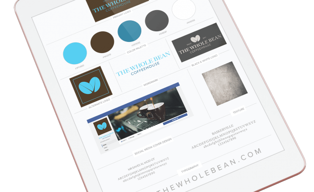 ipad with mockup of a brand board