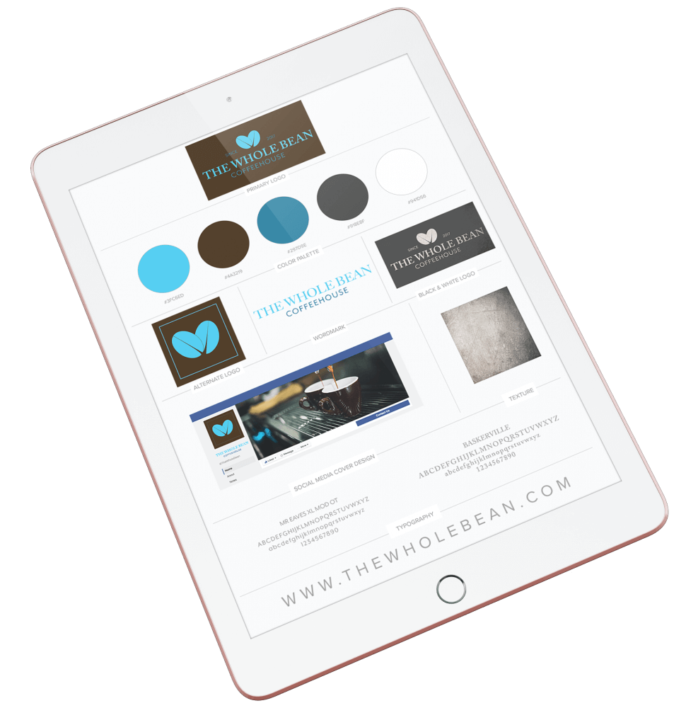 ipad with mockup of a brand identity board