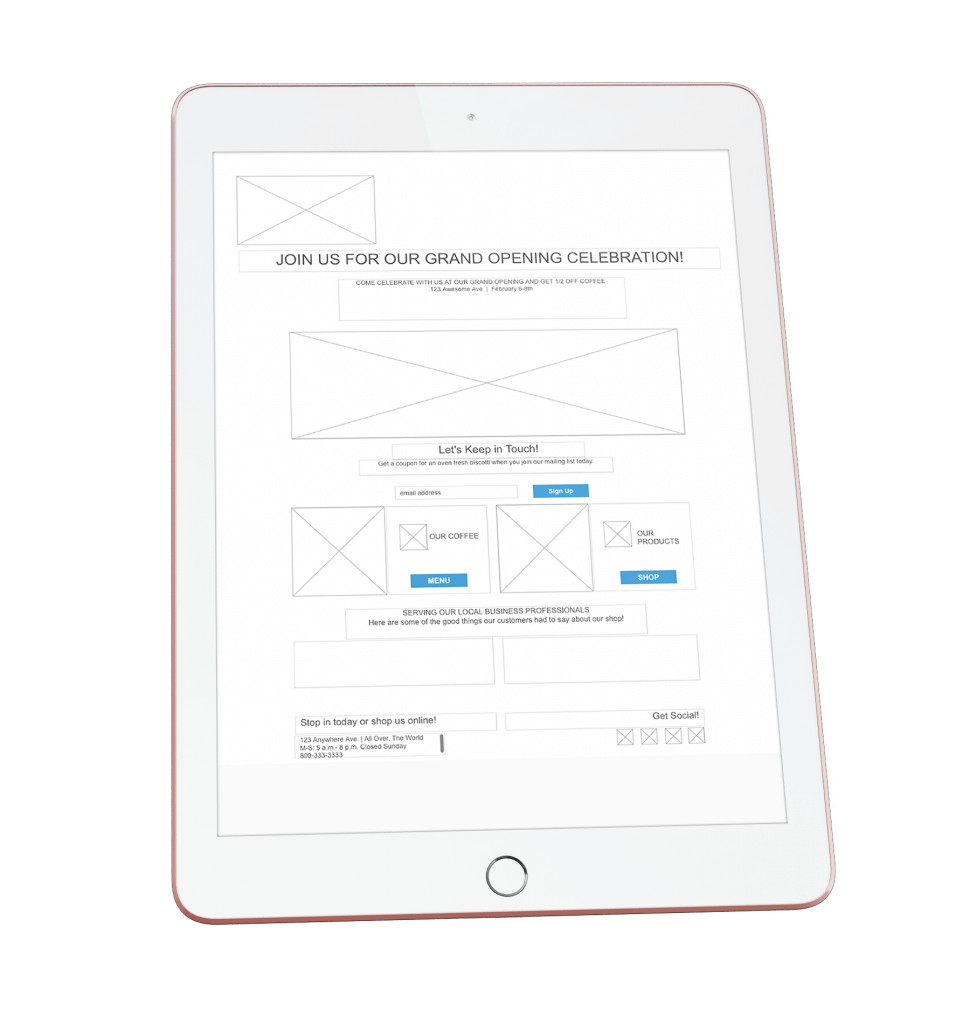 ipad of a mockup of the wireframe of the landing page