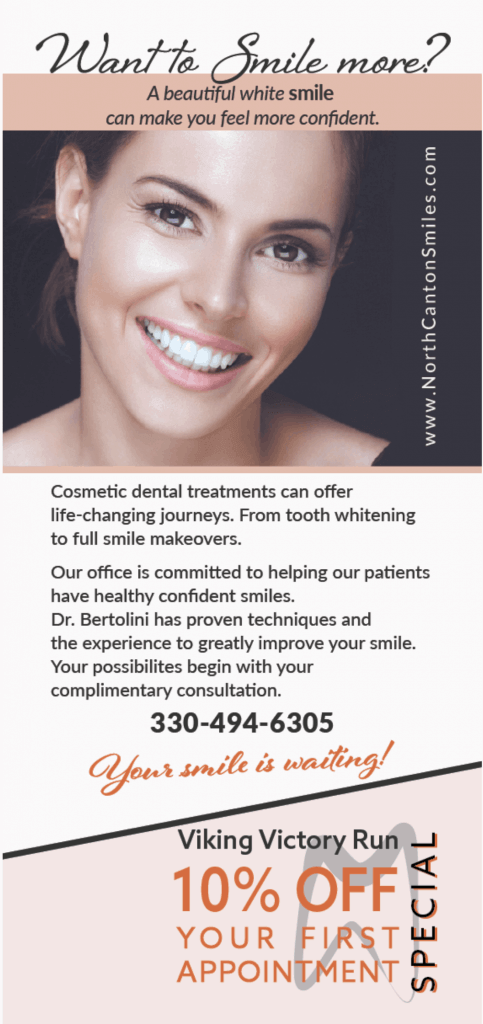 Front post card print graphics for dental office