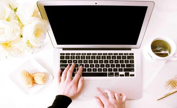 open laptop working on website design